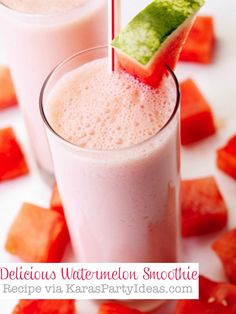 Delicious WATERMELON Smoothie Recipe that's super easy & healthy! Recipe and more party recipe ideas via Kara's Party Ideas KarasPartyIdeas.com #watermelon #smoothie #healthy