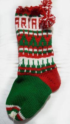 Bota de Natal em trico, feito à mão personalizada