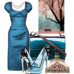"""""""Iridiscent Blue and Pink Pearls"""" by halfmoonrun on Polyvore. Just look at the shoes! AND they're clear? Wow..."""