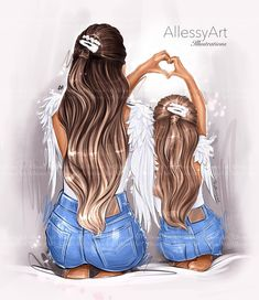 Mother And Daughter Drawing, Mom Daughter, Daughters, Mother Daughter Pictures, I Love You Mom, Mommy And Me, Illustration Mode, Portrait Illustration, Princess Illustration