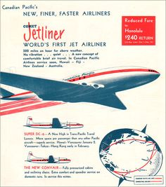 De Havilland Comet, Pacific Airlines, Air Lines, Air Travel, Fiji, First World, New Zealand, Vancouver, Hong Kong