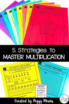 Are you looking for some no-prep resources to help your students master multiplication facts? These Multiplication Strategies Printables and anchor posters will help your students understand the concept of multiplication and help them memorize their multiplication tables.  Each 'Set' includes the 2 pages for each of the 5 multiplication strategies: • Equal Groups • Arrays • Repeated Addition • Skip-Counting • Related Facts