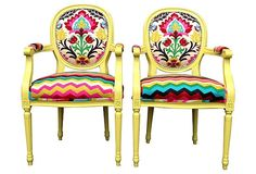 Pair of French Louis armchairs painted Citron upholstered in Chevron and Ikat upholstery fabric Yellow Chartreuse French Louis XVI Dining by THRONEupholstery on Etsy https://www.etsy.com/listing/197705057/pair-of-french-louis-armchairs-painted