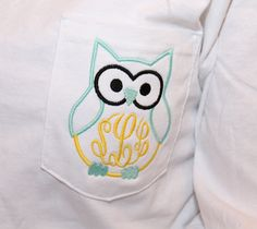 Items similar to Monogram Owl Pocket Tshirt Short Sleeve Tshirt with Personalized Pocket Monogram on Etsy Monogram T Shirts, Embroidery Monogram, Monogram Gifts, Embroidery Designs, Teacher Shirts, My New Room, Machine Embroidery, Sewing Projects, Crafty