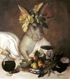 Stave Puzzles: Bunny Bacchus (Traditional) by Melinda Copper Bacchus (Caravaggio) Lapin Art, Rabbit Art, Bunny Art, Bacchus, All Nature, Caravaggio, Animal Paintings, Caricatures, Pet Portraits