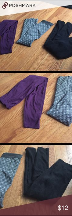 Leggings set All are in great condition. All fit like a medium so I'm putting medium for tag. Black pair is insulated as warm. Purple pair and grey with white pattern pair. Pants Leggings