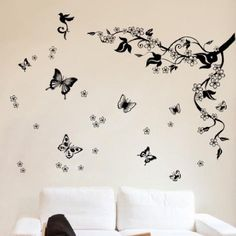 diseño pared arbol mariposas - Buscar con Google