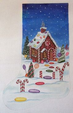 Gingerbread House Stocking Needlepoint Canvas by colors1 on Etsy,