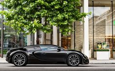 壁紙をダウンロードする Bugatti Veyron, 2017, hypercar, 黒Veyron, 側面, ウ, Bugatti