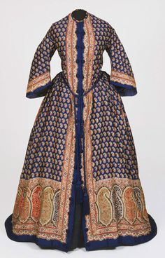 Woman's Dressing Gown (Morning Dress), Made in United States, c. 1850, Printed wool
