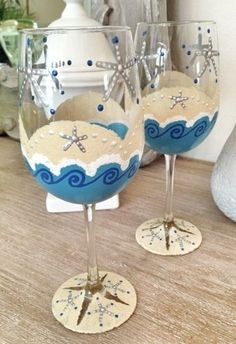 Hand Painted Starfish Wine Glasses. Set of two. Made in the USA.
