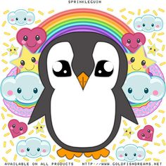 Sprinkleguin, Mr Penguin, Cute, Adorable, Kawaii, Anime, Penguin, Goldfishdreams, Sparkles, Sprinkles, Icing, Stars, Clouds, Hearts, Rainbows, Cartoon, T-Shirt Design, Bird, Big Eyes,