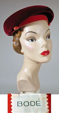 1950s Claret Red and Fuchsia Velvet Bumper Brim Hat.  Label: Bode