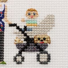 2 Adults Baby In A Stroller Pets. Custom от RussianStitches
