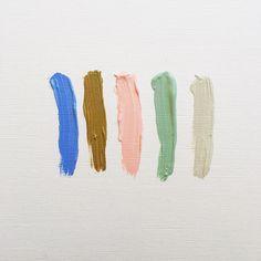 Palette de couleur bleu, marron, rose claire, turquoise et gris