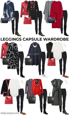 A capsule wardrobe on how to wear leggings | 40plusstye.com How To Wear Leggings, Best Leggings, Style Me, Cool Style, School Outfits, Wardrobes, Capsule Wardrobe, What To Wear, Fashion Beauty