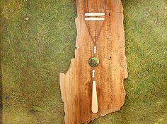Buffalo Bone and Green Zoizite Necklace by mirabiliajewelry, $50.00