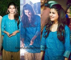 Samantha Ruth Prabhu spent her Diwali at her charity organization - the Prathyusha foundation in a simple outfit - a blue kurta and cream colored patiala. Classy Outfits For Women, Simple Outfits, Stylish Outfits, Clothes For Women, Samantha Images, Samantha Ruth, Latest Tops, Malu, Indian Attire