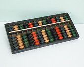 Vintage Wooden Abacus Made in Japan by Daruma with Colorful Orange, Green, Blue, Black, and Tan Beads