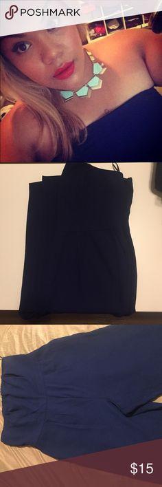 💫Forever 21 body suit💫 Navy blue bodysuit, used ones, size 2X, strapless top, zipper back, Forever 21 Dresses Strapless