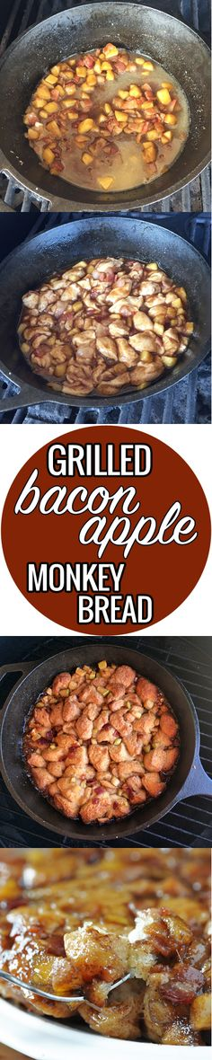 You don't have to go without monkey bread on your next camping trip. This Bacon Apple Monkey Bread will have all the campers up and at 'em. Grilled Bread, Grilled Seafood, Grilled Pork, Brunch Recipes, Breakfast Recipes, Dessert Recipes, Desserts, Apple Monkey Bread, Apple Recipes