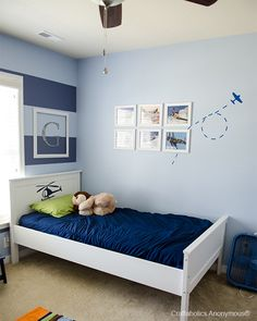 Boys Room With Stripes And Airplanes Boy Bedroom Airplane