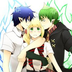 Tags: Demon, Vest, Blue Flame, Ao no Exorcist, Okumura Rin, Staring