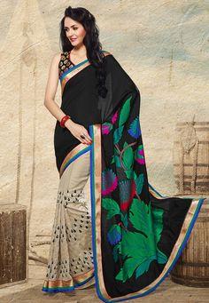 Black Art Banarasi Jacquard and Art Silk Saree with Blouse: STL418