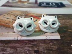 Nerd Cat Earrings by PaperBiscuit on Etsy, $3.50