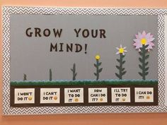 Decorating for a Growth Mindset Ra Bulletin Boards, Counselor Bulletin Boards, Elementary Bulletin Boards, Valentines Day Bulletin Board, Science Bulletin Boards, Spring Bulletin Boards, Back To School Bulletin Boards, Bulletin Board Display, April Bulletin Board Ideas