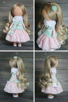 Decor doll handmade green pink blonde Nursery by AnnKirillartPlace