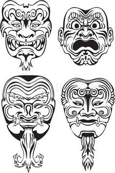 Four examples of samurai mask