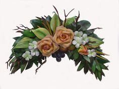 faux cream, white and green arrangements - Google Search