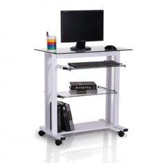 mesa de ordenador pc oficina despacho escritorio estante xxcm vidrio nuevo