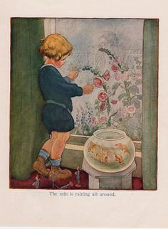 1919 Art Illustration Print small boy at window Raining goldfish bowl