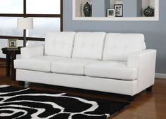 Exceptionnel Platinum Sofa With Sleeper With White Bonded Leather By Acme
