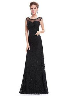 #Dressilyme - #Dressilyme Dressilyme In Stock Delicate Lace Scoop Neckline Sheath / Column Evening Dresses With Lace Appliques - AdoreWe.com