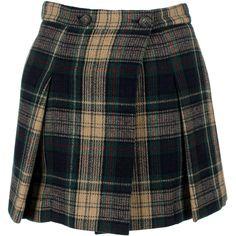 Vivienne Westwood Anglomania Callas Kilt ($615) ❤ liked on Polyvore featuring skirts, mini skirts, tartan miniskirts, plaid wool skirt, wool pleated skirt, short mini skirts and pleated skirt