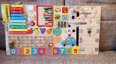 Busy board - 30 elements, activity board, sensory board, sensory toys, wooden toy, latch board, locks, autism, fine motor skills