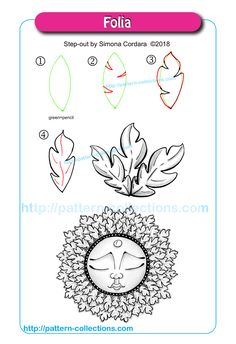 Drawing Flowers Folia by Simona Cordara - Zentangle Drawings, Doodles Zentangles, Doodle Drawings, Doodle Art, Zen Doodle Patterns, Mandala Pattern, Zentangle Patterns, Tangle Doodle, Tangle Art