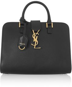 Saint Laurent - Monogramme Cabas Baby Leather Tote - Black