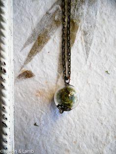 Tiny Moss Terrarium Necklace by Heronandlamb on Etsy, $35.00
