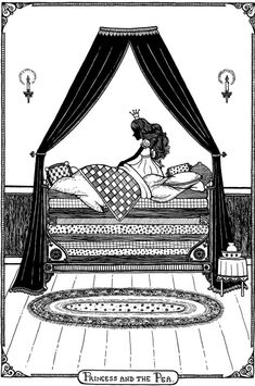 After Hans Christian Andersen's Princess and the Pea. *** Prints can be found at [link] *** The Princess and the Pea Hans Christian, Princess And The Pea, Little Princess, Hello Kitty Colouring Pages, Princess Party Invitations, Princess Coloring Pages, Stories For Kids, Nursery Rhymes, Adult Coloring