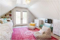 Teen Girl Bedrooms for sweet cozy living area - Creatively cool room decor ideas. Post ref 1643277695 Categorized in diy teen girl bedrooms loft beds , pinned on this moment 20190127 Dream Rooms, Dream Bedroom, Home Bedroom, Bedroom Decor, Bedroom Furniture, Attic Bedrooms, Teen Girl Bedrooms, Attic Bedroom Kids, Attic Bedroom Ideas For Teens