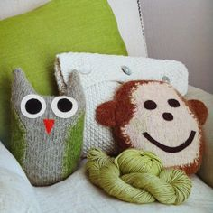 Owl and Monkey Cushion from the 'What to Knit when you're expecting' book by Nikki Van De Car, available at Gather. Washi, Baby Knitting, Owl, Baby Ideas, Pretty, Monkey, Cushion, Handmade, Crafts