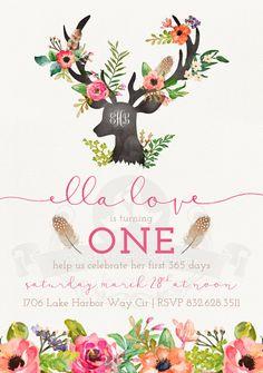 Boho/Woodland First Birthday Party Invitation by CCbyC on Etsy