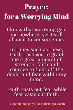 Bible Verses:Prayer for a worrying mind Prayer Scriptures, Bible Prayers, Faith Prayer, God Prayer, Power Of Prayer, Bible Verses Quotes, Faith Quotes, Catholic Prayers For Strength, Prayers For Peace