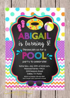 PRINTABLE Pool Party Invitation / Girls Swimming Birthday Party / You Print by ciaobambino on Etsy https://www.etsy.com/listing/236118019/printable-pool-party-invitation-girls