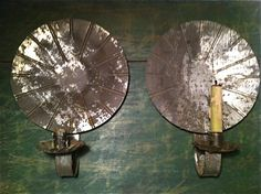"Large 1800s * PAIR Tin SCONCES * Brilliant tinned reflector 13"" early ANTIQUE Pr  Ebay  sold   455.00"