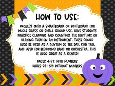 Halloween Projectable Rhythm Counting Flashcards by Rocky Mountain Music Mountain Music, Halloween Music, Treble Clef, Student Reading, Elementary Music, Classroom Activities, Counting, Notes, Music Store
